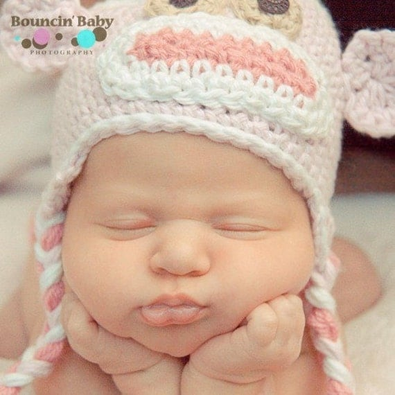 Crochet - monkey hat, baby, special  order for Rebecca