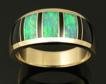 Australian opal ring with black onyx inlay in 14k gold