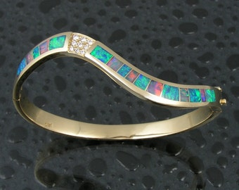 Australian opal bracelet with diamonds in 14k gold