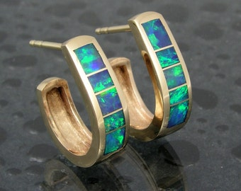 Australian opal inlay 14k gold hoop earrings