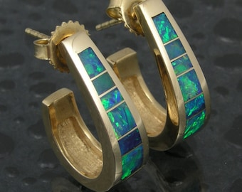 Australian opal inlay earrings in 14k gold by Mark Hileman