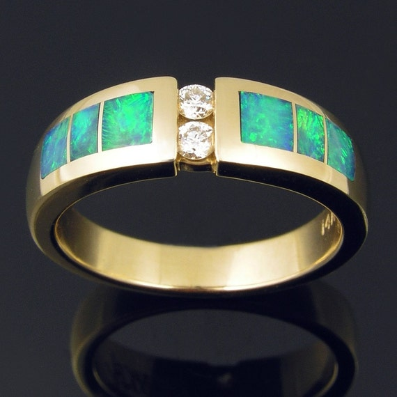 Australian opal inlay ring in 14k gold with diamonds for Australian wedding rings