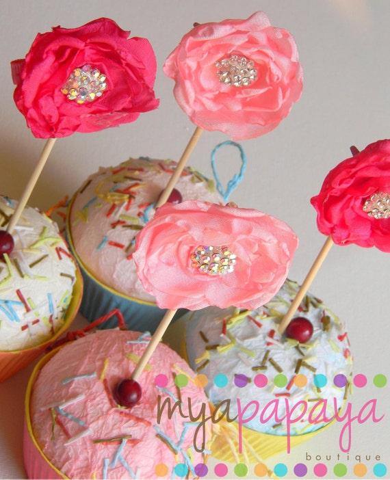 Rosette Cupcake Topper - Doubles as Hair Clip Party Favor Tea Party