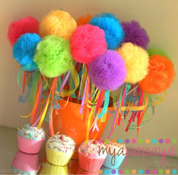 Candyland Birthday-Sweet Tutu Puff Wands  with Hanging Ribbons