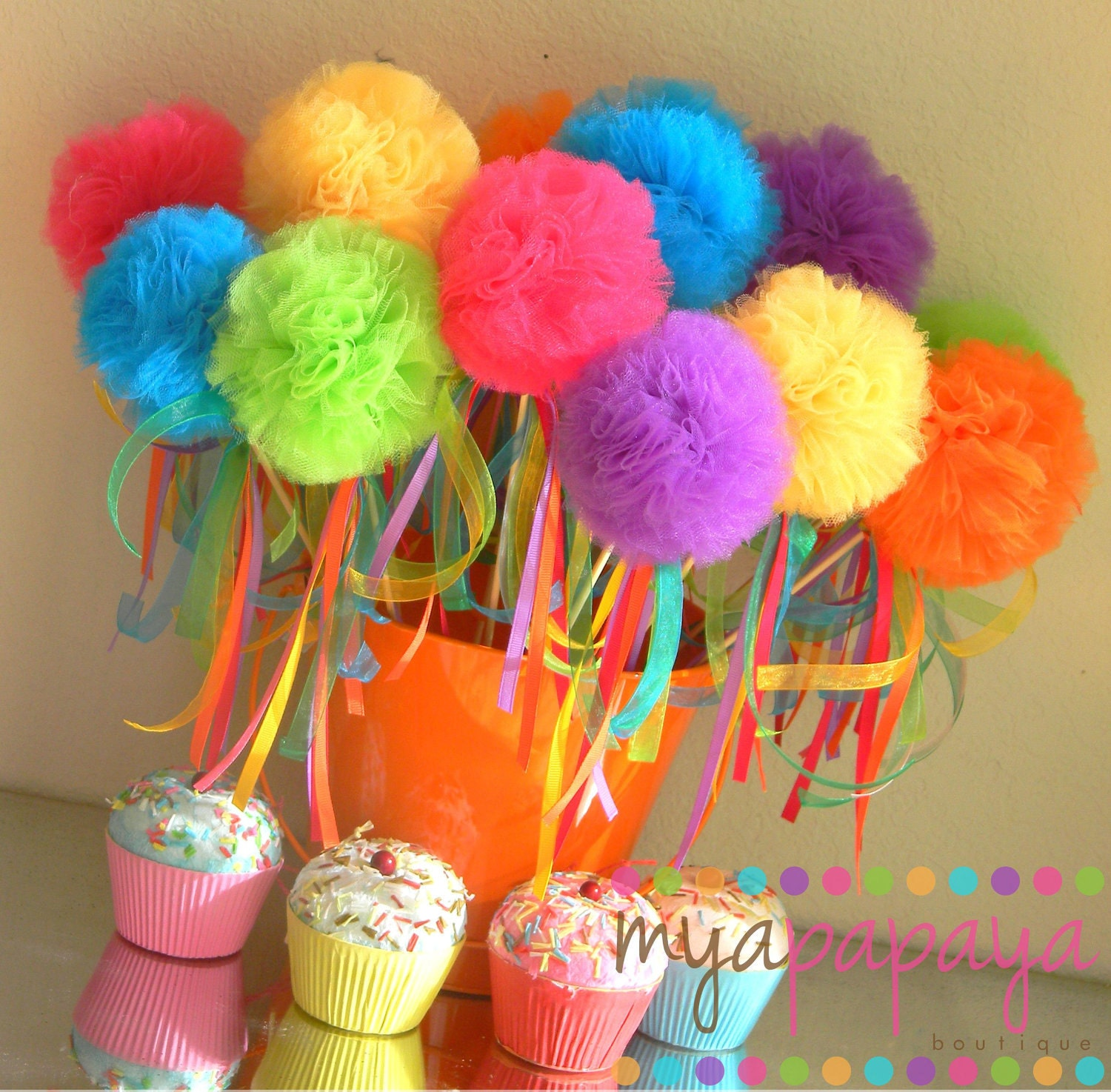 Candyland Birthday-Sweet Tutu Puff Wands By MyaPapayaBoutique
