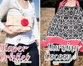 PDF Sewing Pattern - Diaper Wristlet & Nursing Cocoon / Cover Up...Perfect for Baby Shower gifts - Instant Digital Download