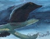 Moonlight Crow ACEO original painting  acrylic