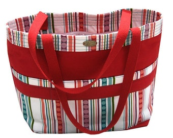 Large tote // red canvas // long straps // stripe print