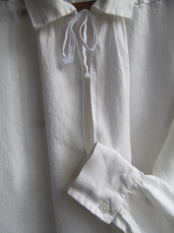 Custom made men's and boy's 18th to 19th century white linen or cotton shirt
