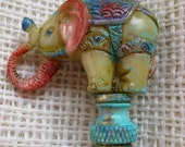 Elephant Lamp Finial Hand Painted One of A Kind Colorful for your Lamp
