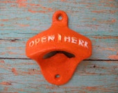 Orange and White Colorful Bottle Opener Antique Style Reminiscent of Days of Old Vintage Style Opener
