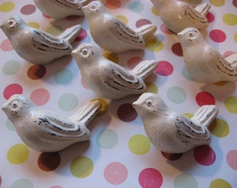 2 Bird Knobs White or Winter White You Customize and Choose Color Metal Cast Iron Drawer Pulls