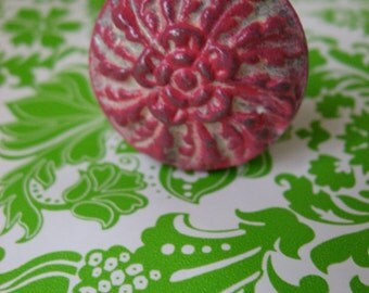 2 Vintage Floral Knobs Wheat Style Cast Iron Pictured in White and Hot Pink Custom Floral Knobs Traditional Farmhouse Cottage Style UT-1