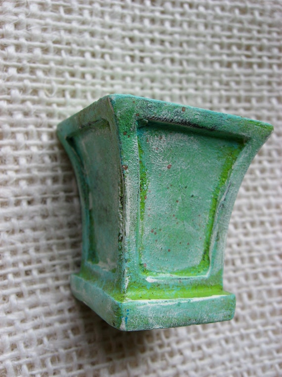 Architectural Lamp Finial in Shades of Green and Patina with Cream Highlights One of A Kind for your Lamp