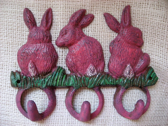 Cast Iron Hand Painted Hot Pink and Green Bunny Rabbit Wall Hook with Three Thick Hooks for your Home Cottage Style
