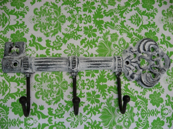 Cast Iron Key Wall Hook in Beach White and Natural Finish Three Hangers or Hooks Other Colors Available