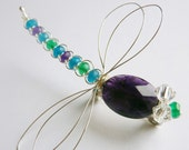 Amethyst, Green Onyx and Apatite Sterling Dragonfly Brooch - Tagt