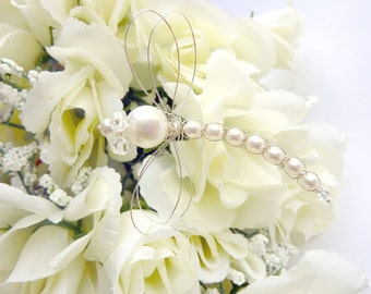 Dragonfly Pearl Bouquet Decoration - White Wedding Swarovski Pearl Dragonfly Hair Pin, Brooch or Bouquet decoration