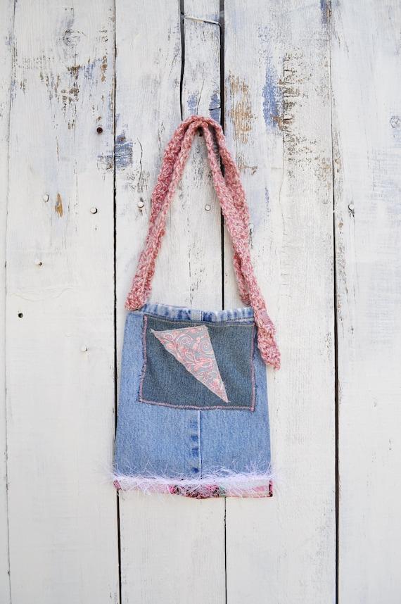 Small Denim purse, long shoulder strap, vintage buttons, pink applique,