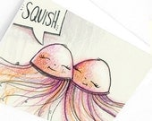 Jelly Fish Love SQUISH Blank Greeting Card
