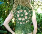 Forest Nymph Crochet Mandala Lace up Pixie Vest