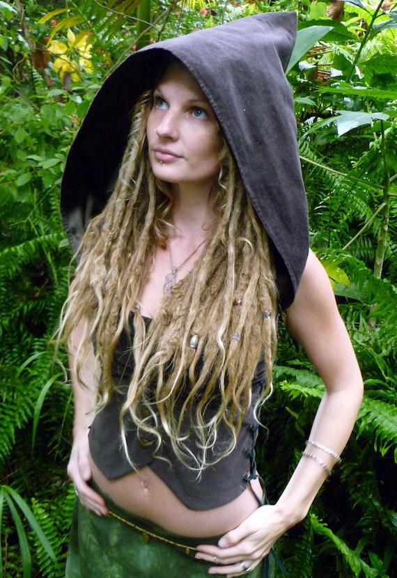 SALE WAS 155usd The Wylde Wanderer Hooded Lace-up Pixie Waist Coat Vest