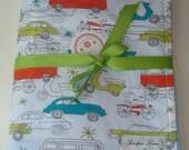 Minky Stroller Blanket In Circa 50 Organic Cars Fabric With Free Matching Lovie