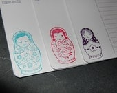 Hand Stamped Russian Matryoshka Dolls Recipe Card Set of 12 in 3 colours