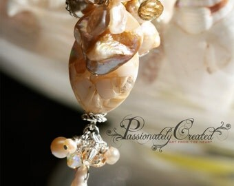 Sparkling Silver, White, Seashell, Pearl, Vintage Bead, Gemstone Cluster, Limited Edition, Chain Necklace