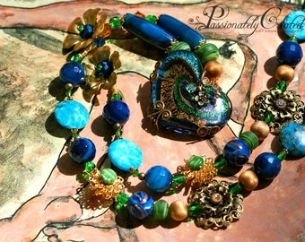 Boho Chic, Japanese Vintage beads, Antique Brass, Swarovski Crystal, Lace Filigree, Dichroic Glass Heart, Beaded Necklace