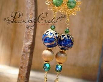 Elegant, Boho Chic Fashion Jewelry, Japanese Vintage Glass Bead, Gold Plated, Swarovski Crystal, Lace Filigree, Long Earrings