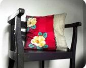 Anya Pillow by KaftanSarafan. Eco. Burlap and Vintage Silk. 46cm (18'')