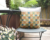 Vintage Shibori Silk an Natural Linen Pillow /Cushion Cover by KaftanSarafan. 18''x18'' (45x45cm)