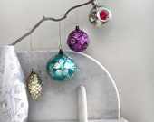 4 Christmas Tree Decorations Ornaments. Large Vintage Mid Century Russian Traditional Glass Christmas Decorations. SET 4