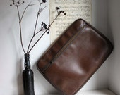 Vintage Brown Faux Leather Portfolio / Document Pouch. Mid Century. Zip Pocket. Vegan