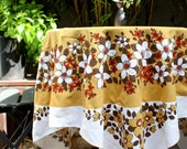 Vintage Retro Tablecloth. White and Cumin Coloured with Floral Pattern. Square