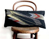 Yagasuri Recycled Decorative Pillow / Throw Cushion Cover. 30x65cm. Vintage Kimono Silk and Natural Linen. Modern Design. Eco Living