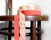 Vintage French Bias Binding Tapes. Coral Red and Toile de Jouy