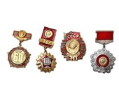 Vintage Russian  Badges / Pins. Gold and Red Soviet Memorabillia. Choose One