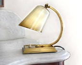 Small Midcentury Lamp. Ombre Cream and Brown Glass Shade with Golden Accents. Gold Tone Base.