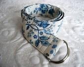 Women's Adjustable Belt - Romantic blue and cream Print - Ready to ship