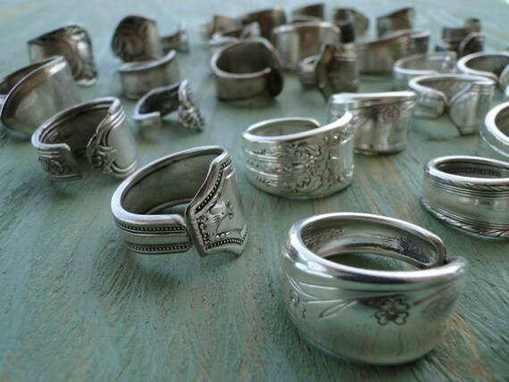 items similar to 7 wholesale vintage silver spoon rings on