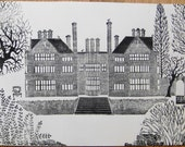 Hampshire Country Pile/House/Mansion- Back Garden- Black, Signed, Lino, Linocut, hand pulled Print