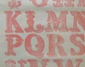 Salmon, Victorian Alphabet Original Lino Block Print - Signed