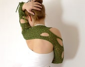 RESERVED green freeform crochet shrug / scarf - cotton, satin ribbon fringe - irregular openings - summer layering fashion - size S to M