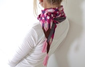 SALE tassel fashion scarf, vintage fabric with jersey lining, pink, purple and storm gray - Circus