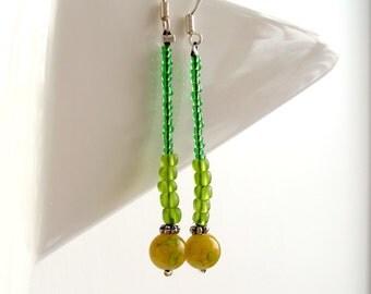 SALE - long dangle earrings - glass beads - green drop earrings - sterling silver wires - womens earrings