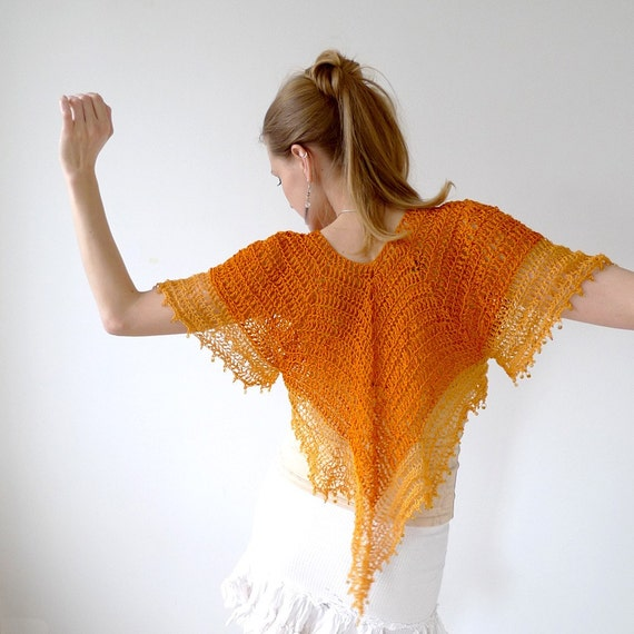 RESERVED bell sleeve fashion cardigan, tangerine orange and sunshine yellow cotton with glass beads, crochet lace net, size M to L - Soleil