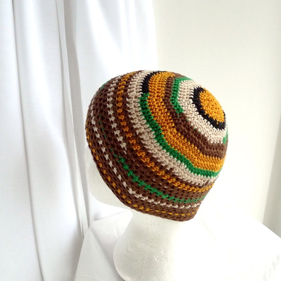 Crochet Beanie, Skullcap Beanie Cap - Brown, Green, Yellow, Black, White Bamboo & Cotton Beanie - Summer Hat Striped Beanie Women Men