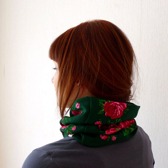 green cashmere folk cowl, boho matryoshka roses, vintage light wool lined with jersey